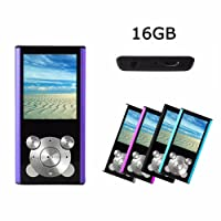 Crillutar 16GB MP3 Player MP4 Player Internal Memory Media Player Portable Video Player/Voice Recorder/Music Player,Digital LCD Screen Supporting Games, with Photo Viewer and E-Book Reader(purple)