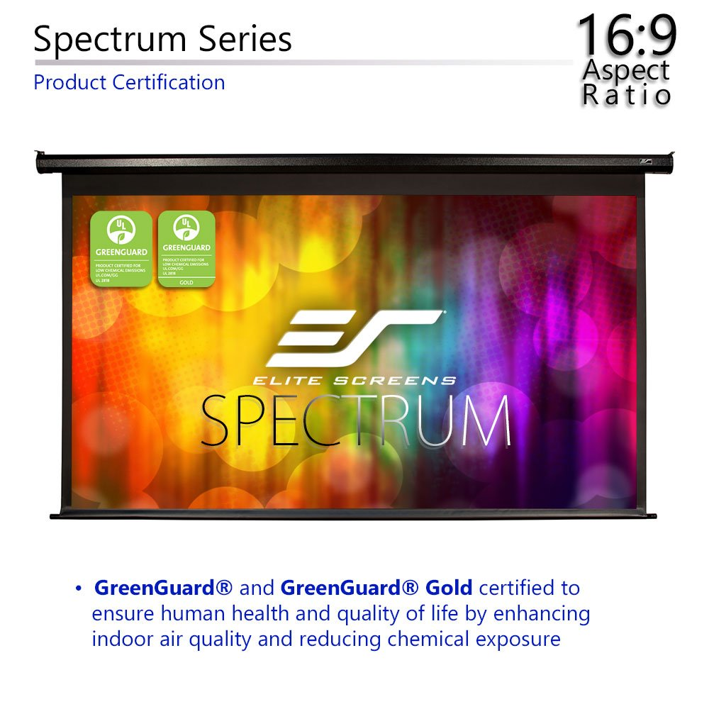 Amazon.com: Elite Screens Spectrum, 125-inch Diag 16:9, Electric Motorized  4K/8K Ready Drop Down Projector Screen, ELECTRIC125H: Home Audio & Theater