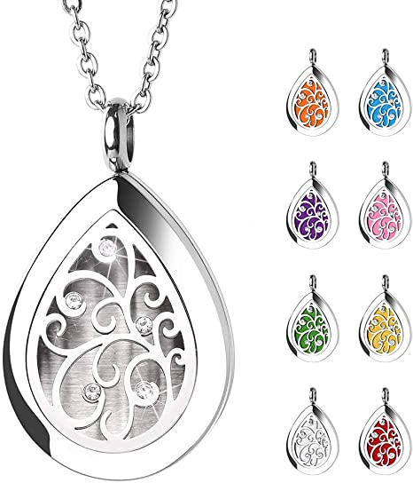 Aroma Diffuser Pendant Exquisite Pattern Aroma Box Pendant Necklace Stainless Steel Magnetic Aromatherapy Essential Oil Diffuser Locket Pendant Jewelry