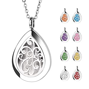 GoorDik Aromatherapy Essential Oil Diffuser Necklace Aroma Waterdrop Necklace Teardrop Pendant Locket with 8 Refill Pads