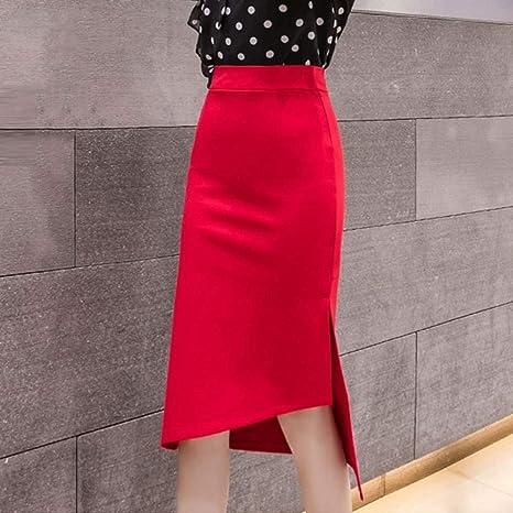 DAHDXD Faldas de lápiz de Color sólido Mujeres de Cintura Alta con ...