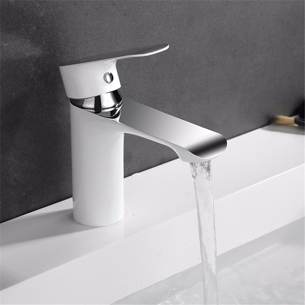 White Modern hot and Cold Water Ceramic Valve Single Hole Single Handle Bathroom Basin Faucet Plating