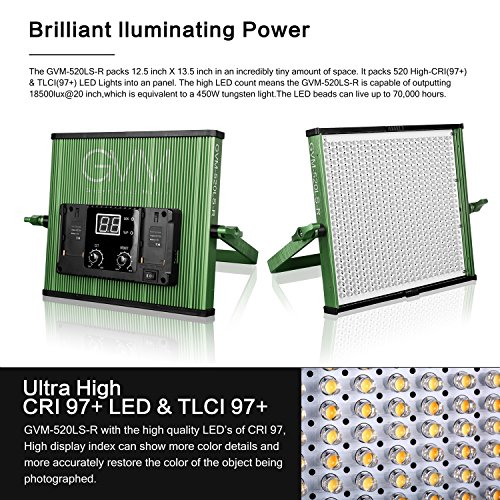 GVM LED Video Light 520 CRI97 + & TLCI 97+ 18500lux @ 20 inch Bi-color 3200-5600K for photography Video lighting Studio Interview Portrait Green