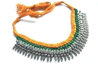 5e3dfea61add ... a mano Vintage Boho indio étnico tribal gitana chapado en plata collar  chic declaración gargantilla babero collar para las mujeres  Amazon.es   Joyería
