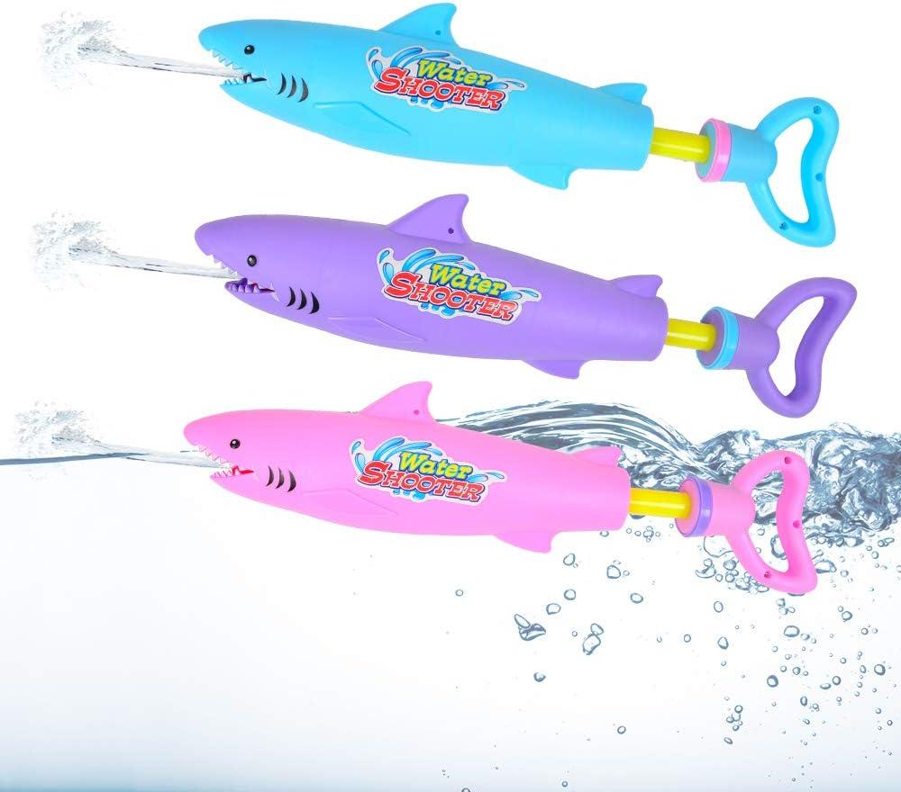 AINOLWAY 3 Pack Water Squirt Gun Shark Designed Water Blaster, Summer Water Shooter Toy for Pool Lake Beach Water Fighting