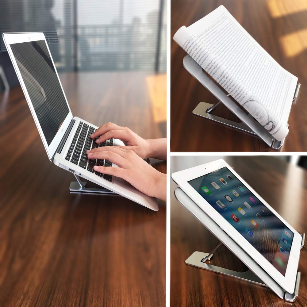 Adjustable Laptop Stand Tablet Foldable Notebook Stand Silver Kindle iPad Miracase Aluminum Ventilated Portable Laptop Riser Compatible MacBook Pro