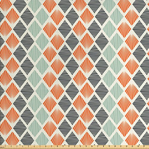 - Ambesonne Geometric Fabric by The Yard, Pop Art Style Retro Rhombus Fractal with Stripes Nostalgic Graphic Print, Decorative Fabric for Upholstery and Home Accents, Orange Almond Green