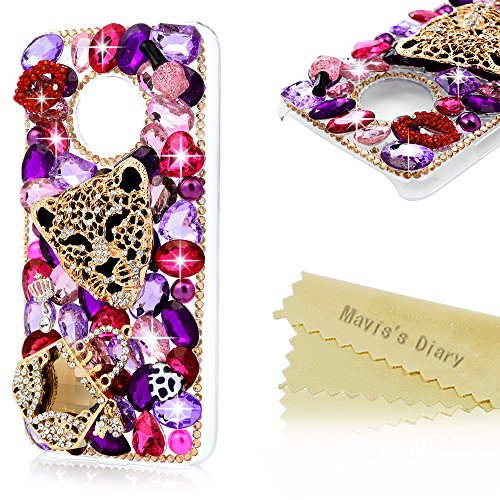 Plastic Hard Case Bling (Moto G5 Plus Case,Mavis's Diary Crystal Clear 3D Handmade Bling Colorful Diamonds Golden Leopard with Shiny Sparkle Rhinestone Gems Hard PC Plastic Case Cover for Motorola Moto G5 Plus)
