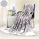 AmaPark Digital Printing Blanket Lacy Pastel with Butter and Lotus Meditation Design White Light Pink Summer Quilt Comforter