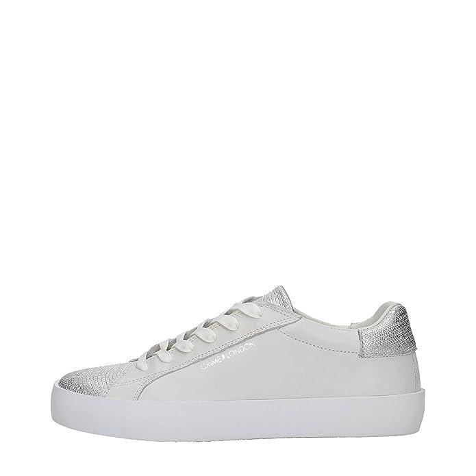Crime London sneakers donna pelle e tessuto bianco e argento art.25101S17B:  Amazon.it: Scarpe e borse