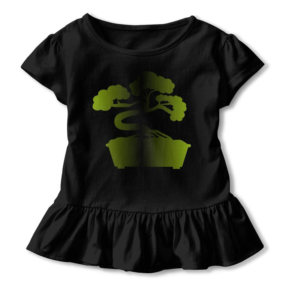 SHIRT1-KIDS Bonsai Japanese T-Shirts Childrens Girls Short Sleeve Ruffles Shirt Tee Jersey for 2-6T