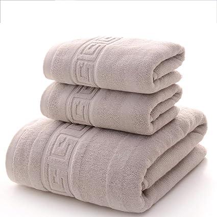 SYXLTSH Toalla de baño + 2 Toallas algodón Adulto Absorbente niños Suave Conjunto Gris