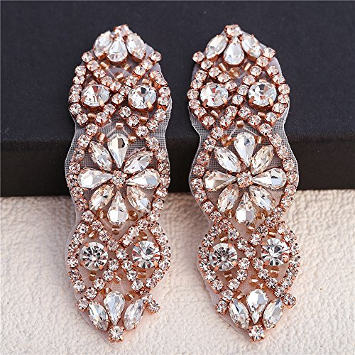 ((2pieces) Crystal Applique Small Size with Rhinestones in Silver or Rose Gold for Wedding Dress Decoration or Headpieces Garters)