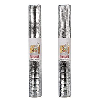 HOKIPO Aluminium Shelf Liner for Cupboards (Silver) - Pack of 2