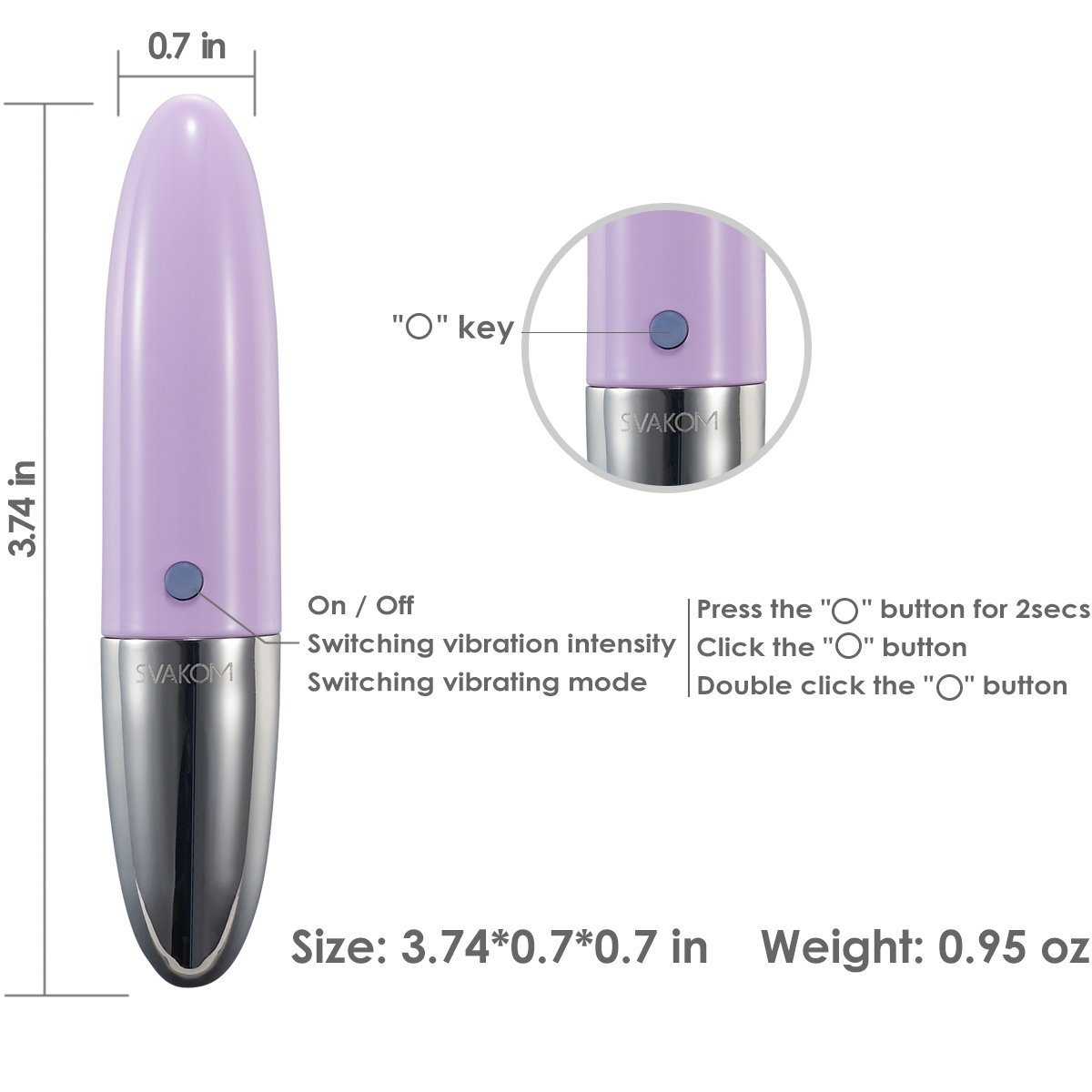 SVAKOM Rebecca Mini Portable Vibrator Rechargeable Stimulator Sex toy Wand Massager Vibes for Women or Couples(Pale Purple/Pink)