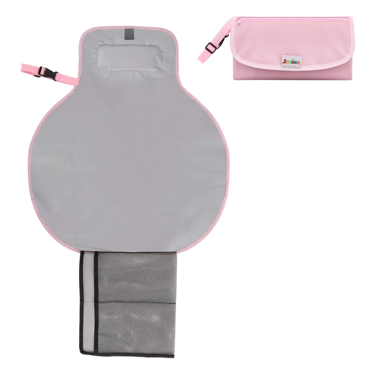 Zooawa Baby Portable Diaper Changing Pad, Lightweight Waterproof Travel Diaper Clutch, Diaper Changing Mat Station with Mesh Pockets and Padded Head Rest, Pink by Zooawa