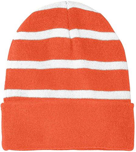 Joe's USA(tm Fleece Lined Stripe Beanie-Orange/White