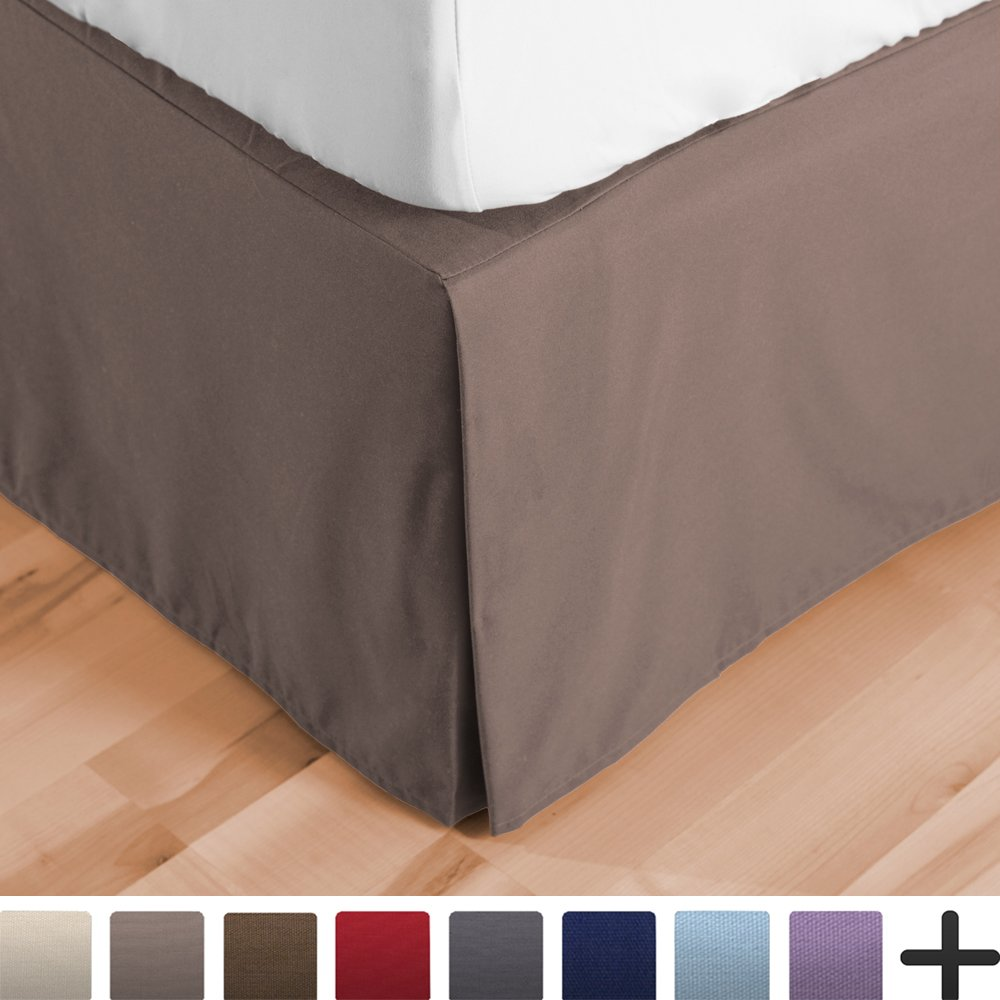 Bare Home Bed Skirt Double Brushed Premium Microfiber, 15-Inch Tailored Drop Pleated Dust Ruffle, 1800 Ultra-Soft Collection, Shrink and Fade Resistant (Queen, Taupe)