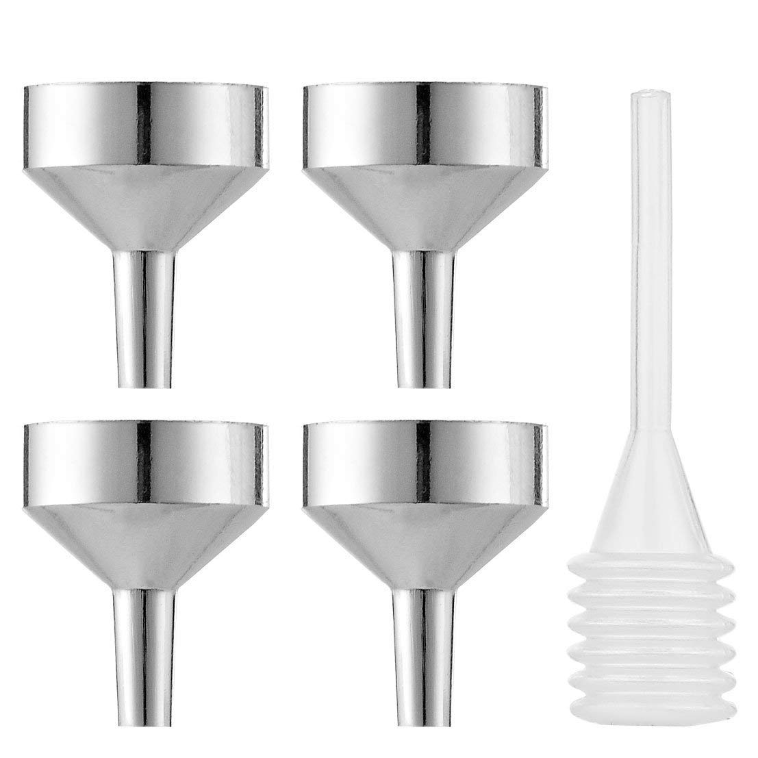 4 Pcs Metal Mini Funnel with Pipette | Small Tiny Perfume Funnel for Transfer Liquid Bottle - Cosmetic Samples Essential Oil, Lotion, Cologne, Mascara, Atomizer, Fragrance (Silver)
