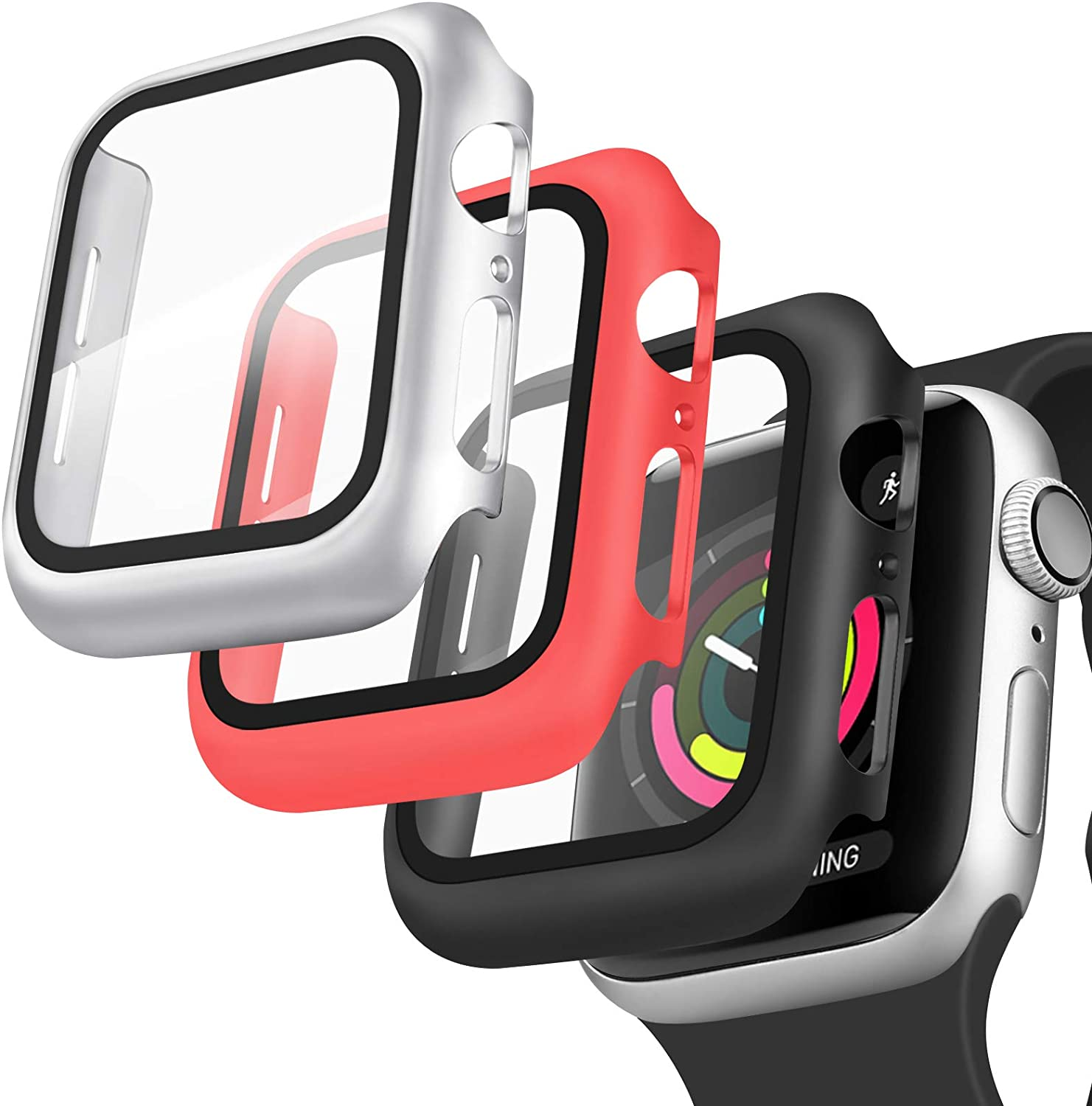 [3 Pack] Oumida 42mm 38mm Case Compatible with Apple Watch Series 3 2 1 for Women Men, iWatch Cases 42mm 38mm Hard Cover with Tempered Glass Screen Protector (Red, Black, Silver, 38mm)