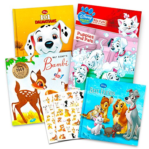 Disney Classic Movie Animal Favorites Coloring and Story Book Bundle with Stickers ~ 101 Dalmatians, Bambi, Aristocats and More (Story Coloring Set) (Toddler Dalmatian)