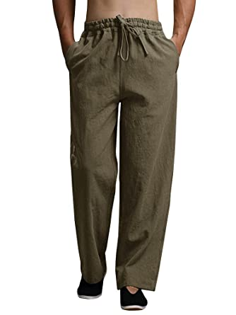 c47429a878 Puwany Mens Casual Linen Drawstring Summer Pants Yoga Beach Trousers Army  Green