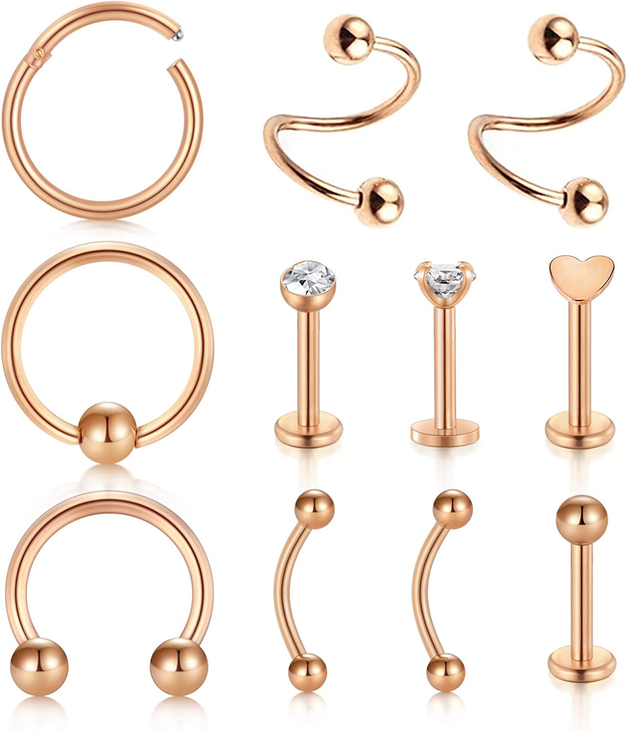 D.Bella 11pcs 16G Nose Rings Stainless Steel Tragus Helix Cartilage Daith Rook Earrings Spiral Twisted Barbell Eyebrow Ring Piercing Jewelry