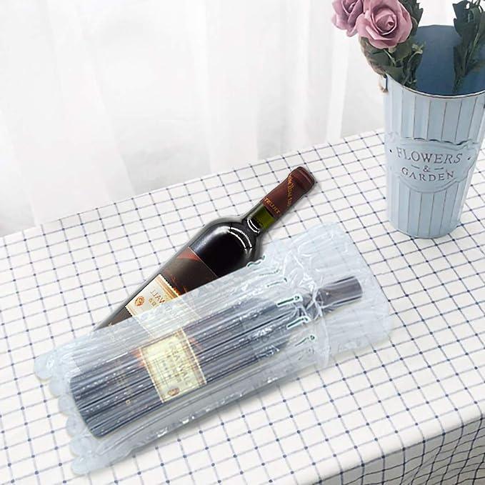 CNNIK 15 Pezzi Borsa da viaggio gonfiabile con colonna daria con pompa riutilizzabile gratuita per imballaggio e trasporto sicuro di bottiglie di vetro Protezione per bottiglie di vino