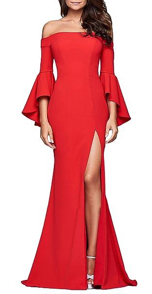 Mujer Vestidos De Fiesta Largos De Noche Elegantes Vintage Jovenes Moda Off Shoulder Sin Espalda Cuello