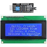 WayinTop 20x4 2004 LCD Display Module with IIC/I2C/TWI Serial Interface Adapter for Arduino Mega 2560 (Blue/2004)