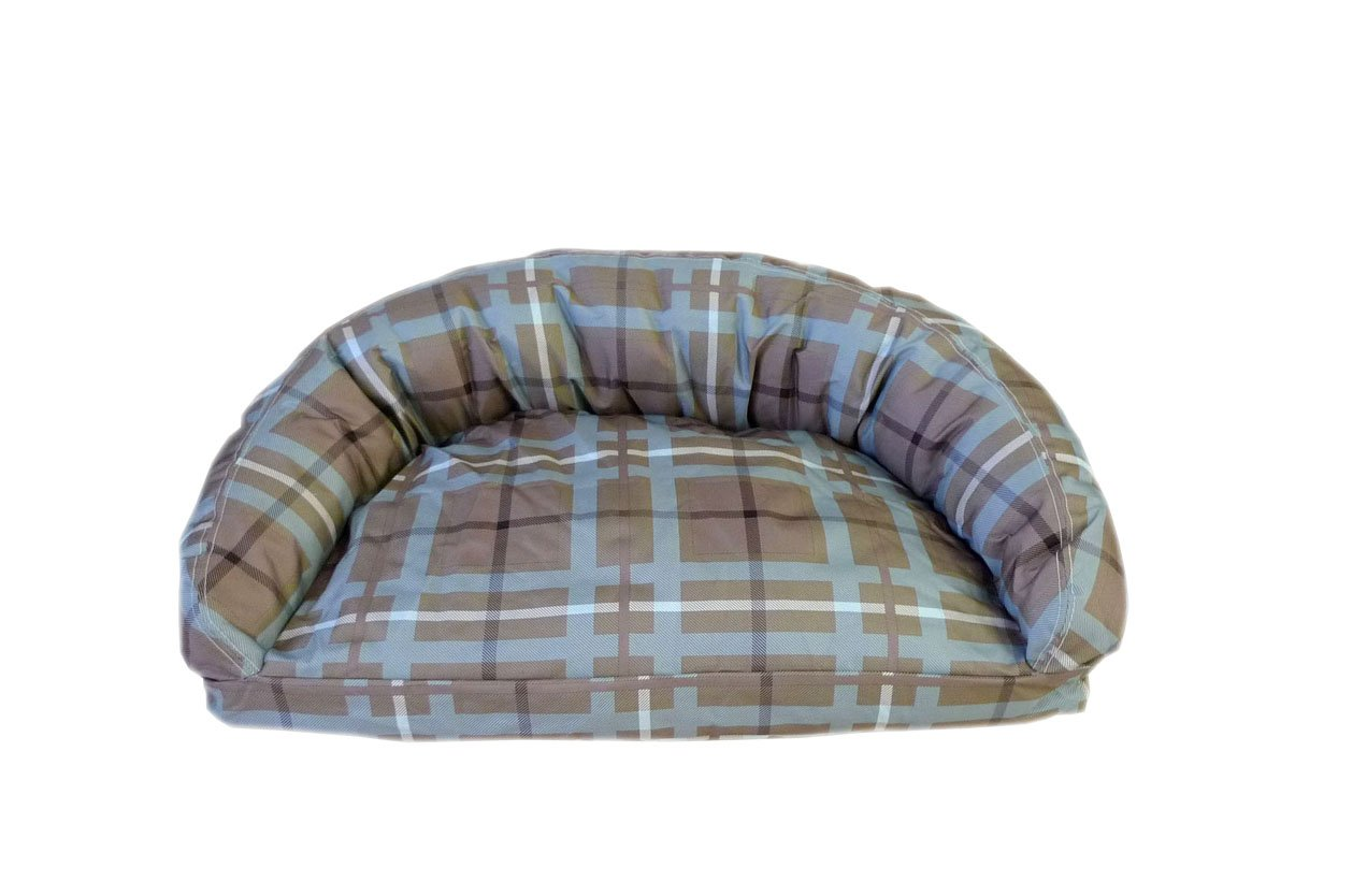 CPC Brutus Tuff Semi Circle Lounger Pet Bed, Small, bluee Brown Plaid