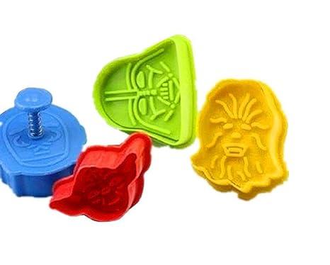 Romote Juego de 4 Star Wars cortadores de galletas émbolos de molde de la torta del