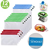 SENQIAO Premium Reusable Mesh Produce Bags, See-Through, Eco Friendly Recyclable Packaging Bags with Drawstrings for Grocery Shopping and Snack Bags, Large, Medium, Small, Set of 12