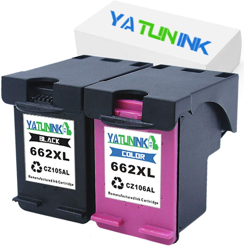 YATUNINK Remanufactured Ink Cartridge Replacement for HP 662XL Black 662XL Color Multipack with Real Ink Level Showing CZ105AL CZ106AL for Deskjet 4645 Deskjet 4666 Printer (1Black+1Color,2Pack)