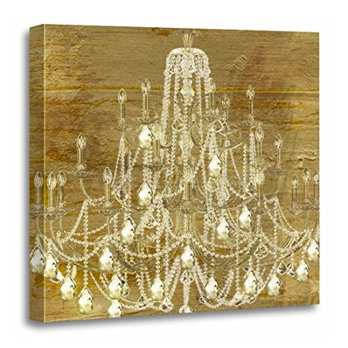 TORASS Canvas Wall Art Print Drop Gold Chandelier Crystals Elegant Lighting Glass Artwork for Home Decor 20