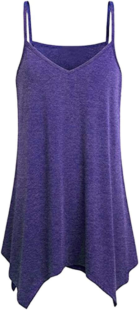 Portazai Womens V-Neck Strap Tank Tops Solid Sleeveless Button Shirts Casual Blouses Vest Tunic Tops