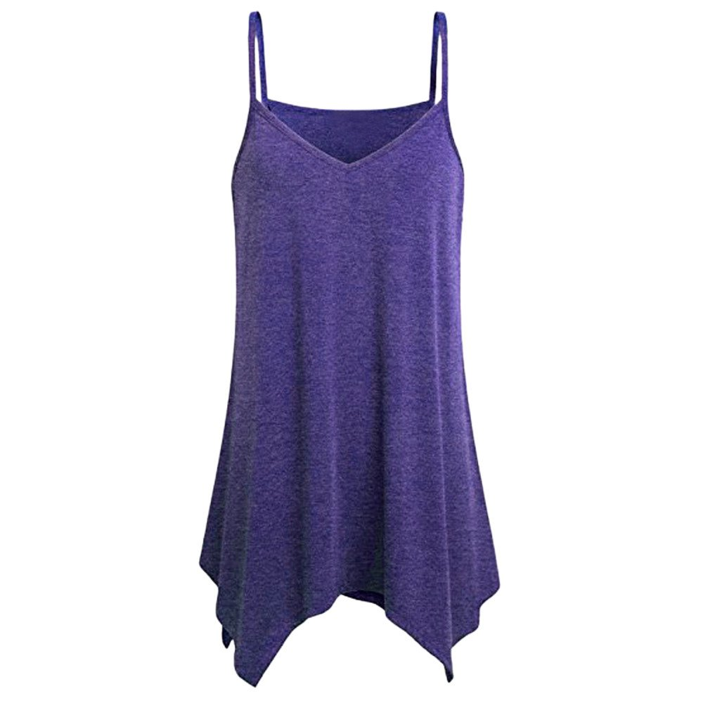 Womens Handkerchief Hem Flowy Top Casual Summer Spaghetti Strap Camisoles Plus Size Tank