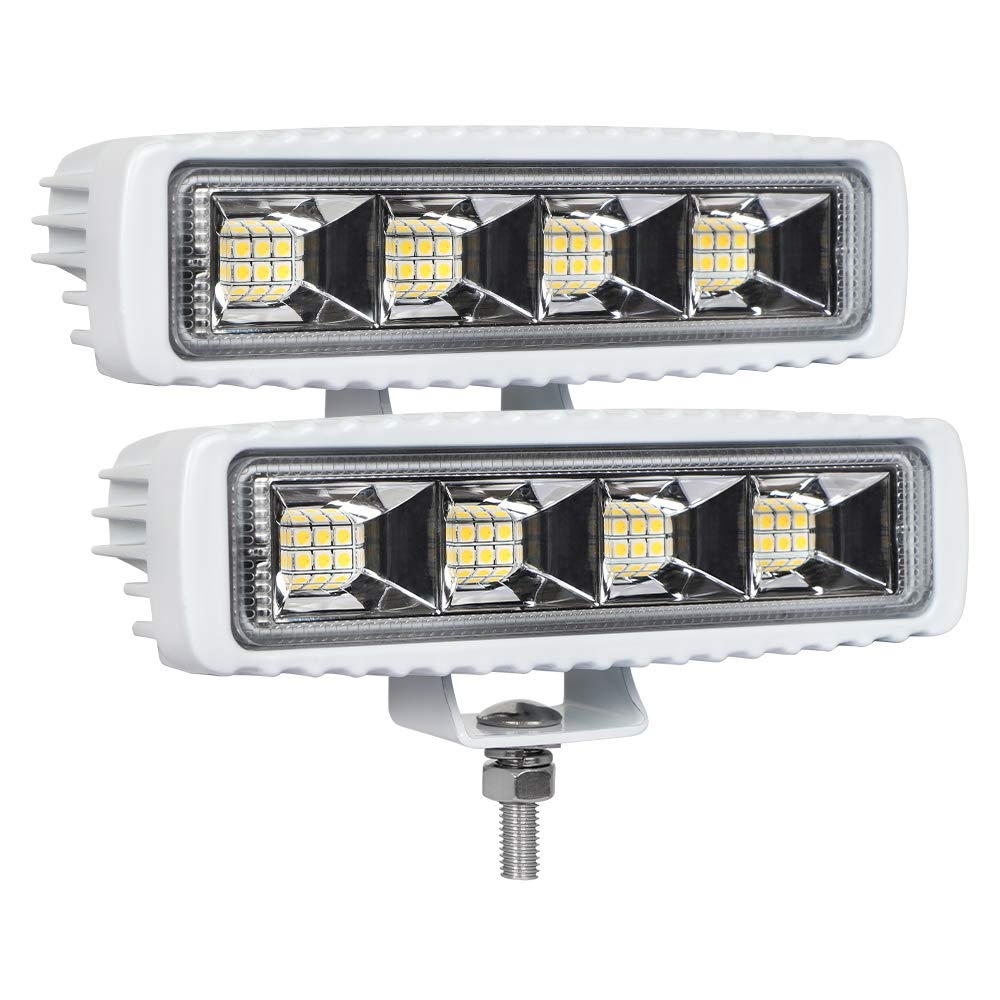 Exzeit Waterproof Led Boat Lights, 2 pc 72W 100% Waterproof Test Deck/Dock Marine Lights 4000LMS 120°Flood Light, 6.3inch, 12/24 V Led Light Bar by Exzeit
