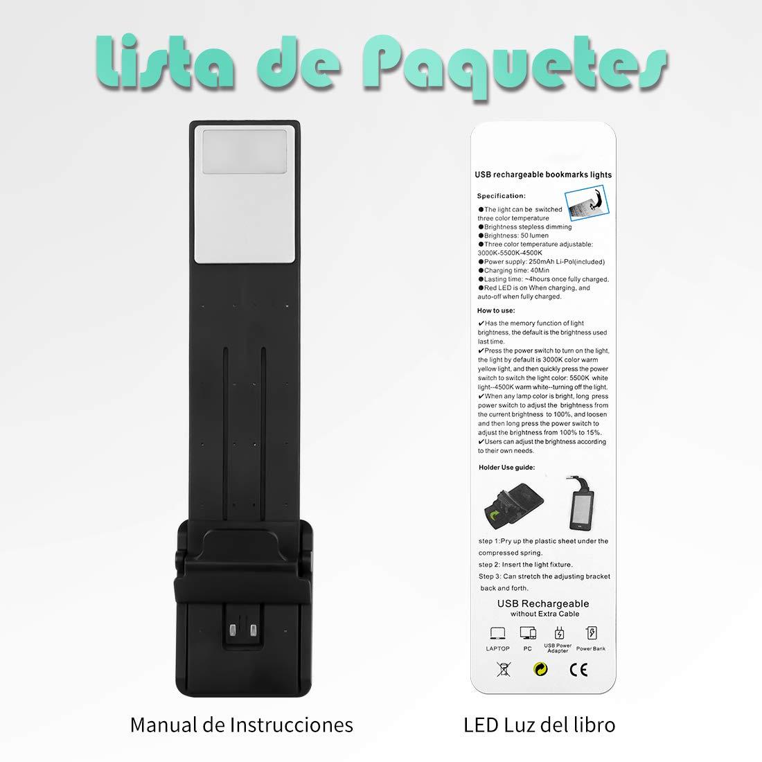 Gocheer Led mini lampada da lettura clip libro USB Ricaricabile portatile,Luce da lettura a tre colori e luminosità, Flessibile 360 °lampade a led per lettura,,kindle,leggere a letto,bambini