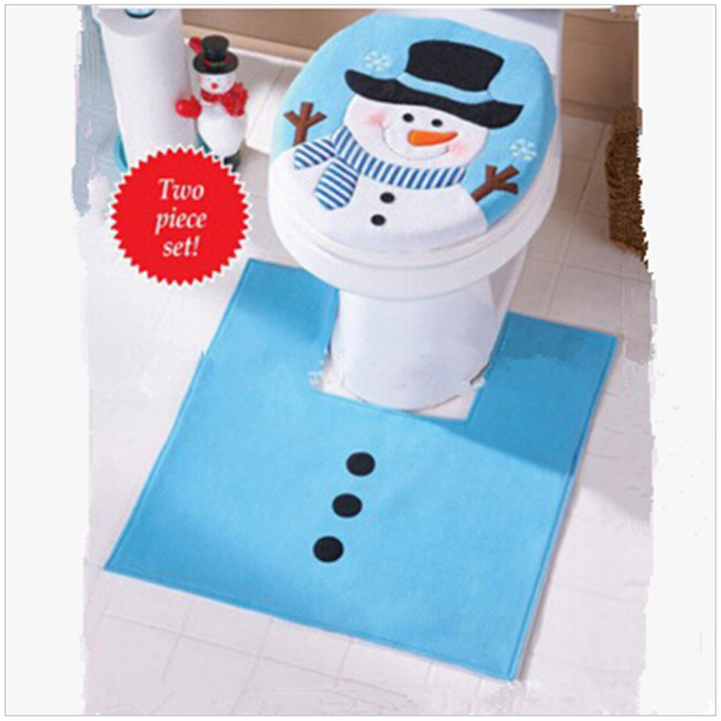 chic HENGSONG Snowman Santa Toilet Seat Cover and Rug Set for Bathroom Christmas Decorations