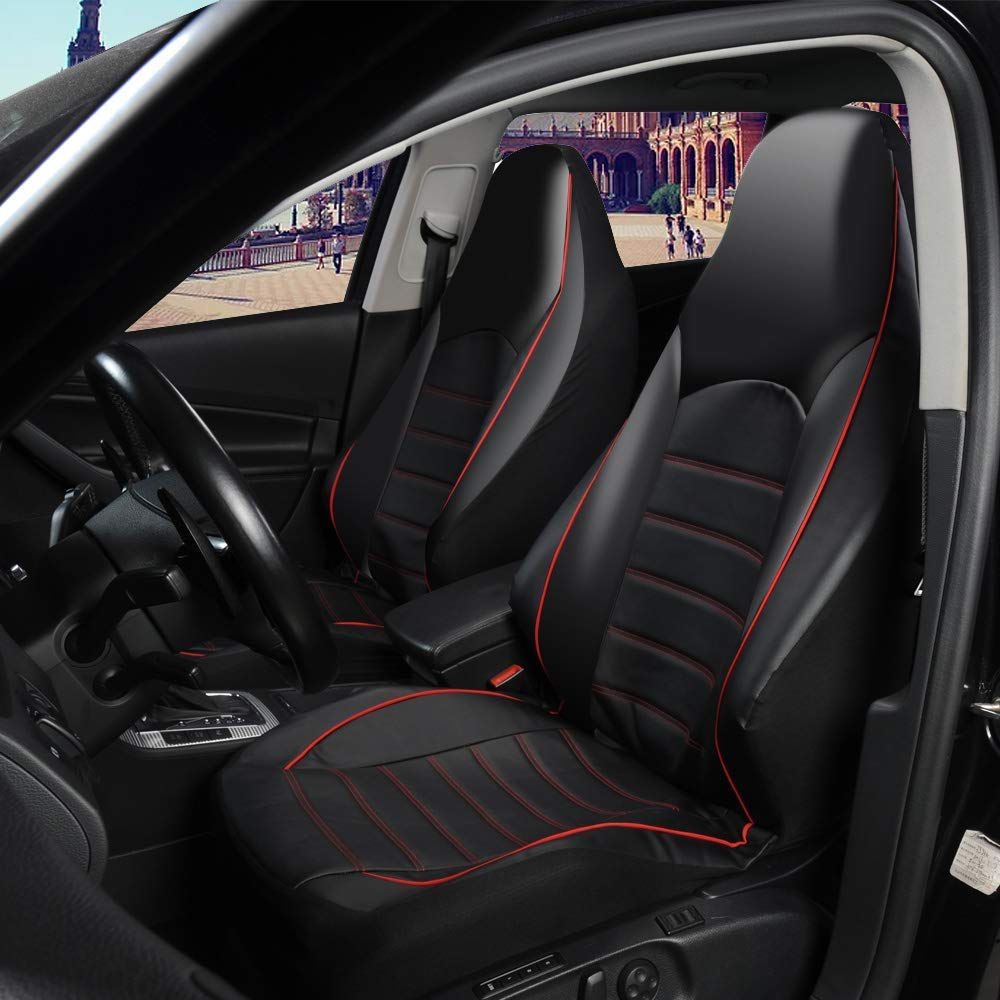 PU Leather Black Front Car Seat Cover 2PCS Bucket Car Seat Cover Red