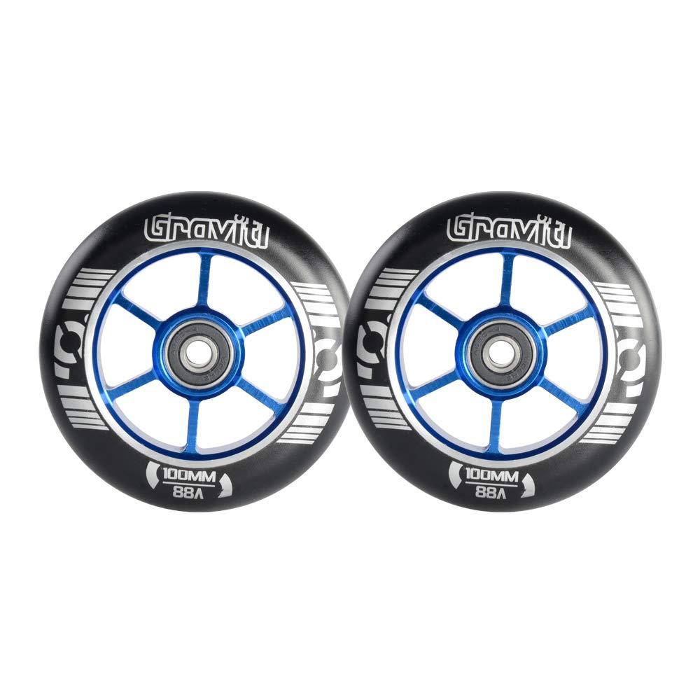 GRAVITI One Pair 100mm Pro Stunt Scooter Wheels with ABEC-9 Bearings CNC Metal Core (2pcs) (Blue) by GRAVITI
