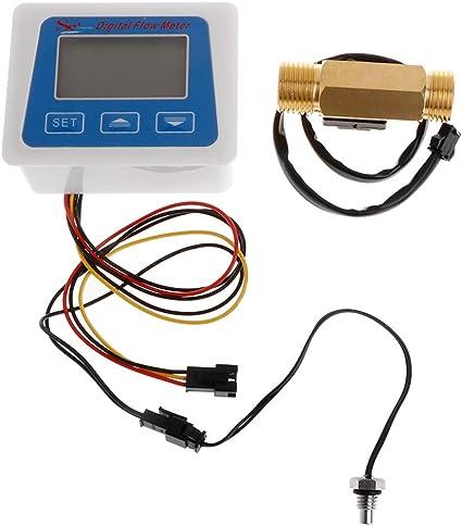 2 Wenjuersty Medidor digital de caudal de agua con sensor de flujo G1