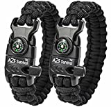 "A2S Paracord Bracelet K2-Peak Series - Survival Gear Kit with Embedded Compass, Fire Starter, Emergency Knife & Whistle - Pack of 2 - Quick Release Design Hiking Gear (Black / Black 8.5"")"