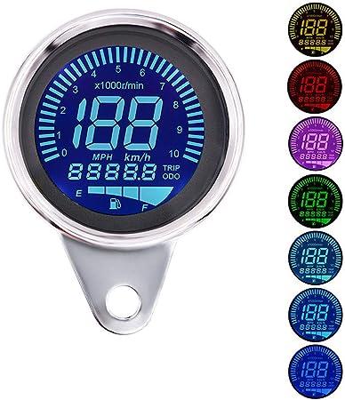 Motorcycle LCD Digital Speedometer Tachometer Odometer Gauge 10000RPM