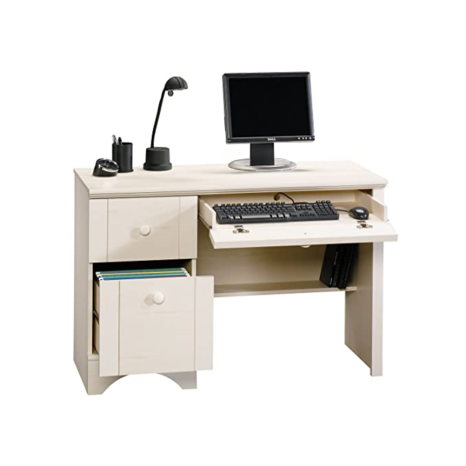 Amazon.com: Sauder Harbor View Computer Desk, Antiqued White Finish:  Kitchen & Dining - Amazon.com: Sauder Harbor View Computer Desk, Antiqued White Finish