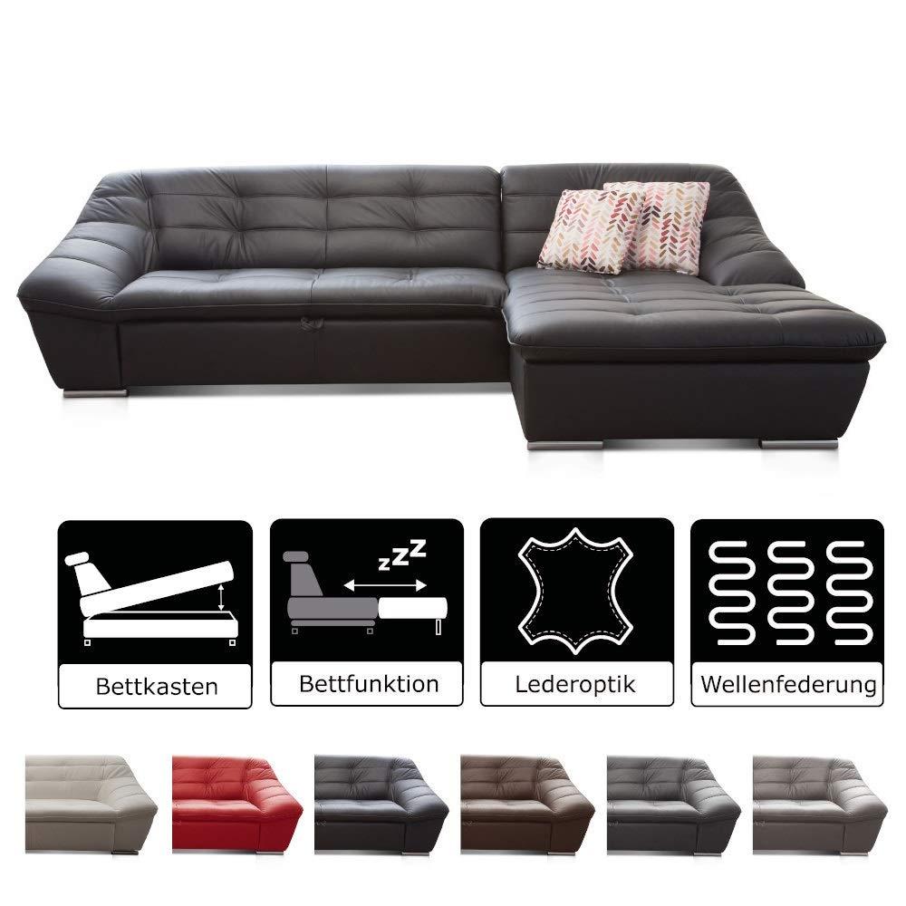 Cavadore Ecksofa Lucas / Kunstleder-Couch mit Steppung und Schlaffunktion / Inkl. Bett und Bettkasten / Longchair rechts / 287 x 81 x 165 (BxHxT) / Kunstleder schwarz