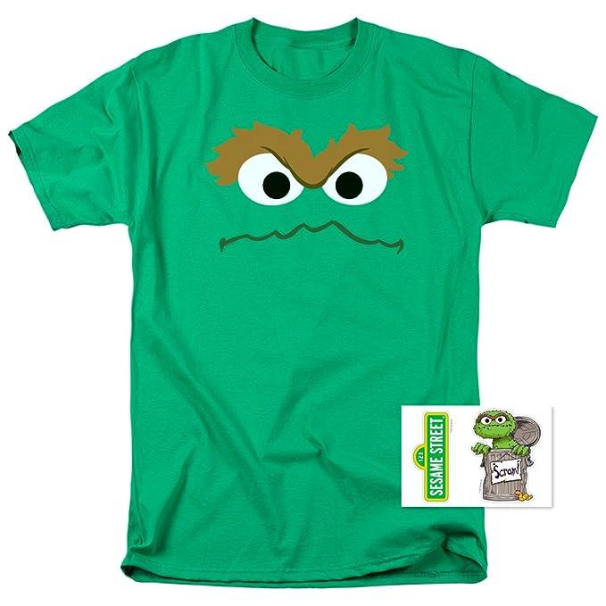 50f2cda5 Amazon.com: Oscar The Grouch Face Sesame Street T Shirt & Stickers ...