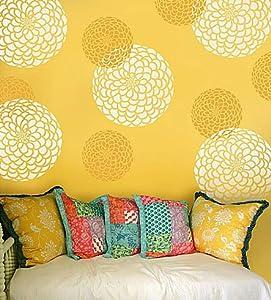 Zinnia Grande Flower Stencil - Medium - Reusable wall stencils better than wall decals  sc 1 st  Amazon.com & Zinnia Grande Flower Stencil - Medium - Reusable wall stencils ...