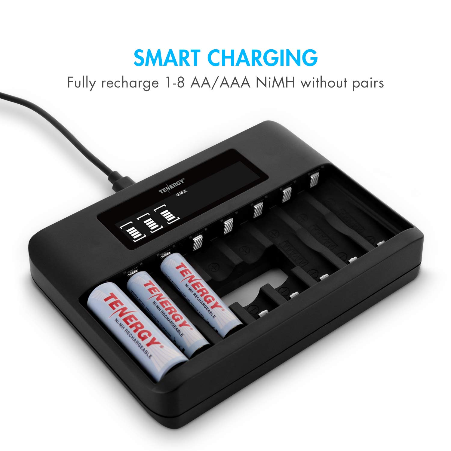 Tenergy TN480U 8-Bay LCD Display Fast Charger for NiMH AA AAA Rechargeable Batteries with 4pcs 2500mah AA and 4pcs 1000mah AAA Rechargeable Batteries